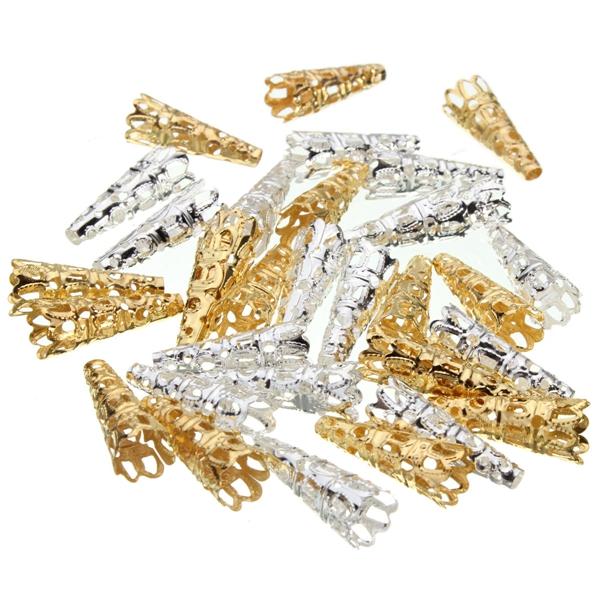 Gouden & Zilveren Kralenkapjes (50 Stuks)