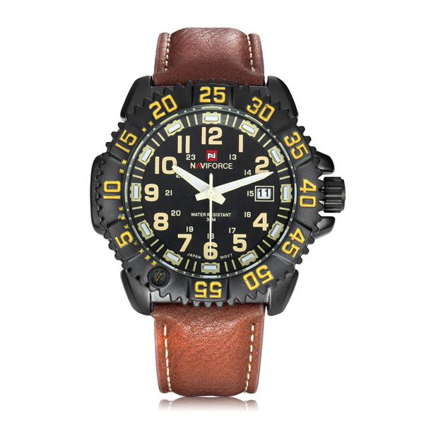 Naviforce 9041 Herenhorloge met Leren Polsband