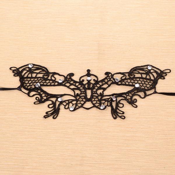 Zwart Kanten Vlinder Masker met Kristallen Decoratie