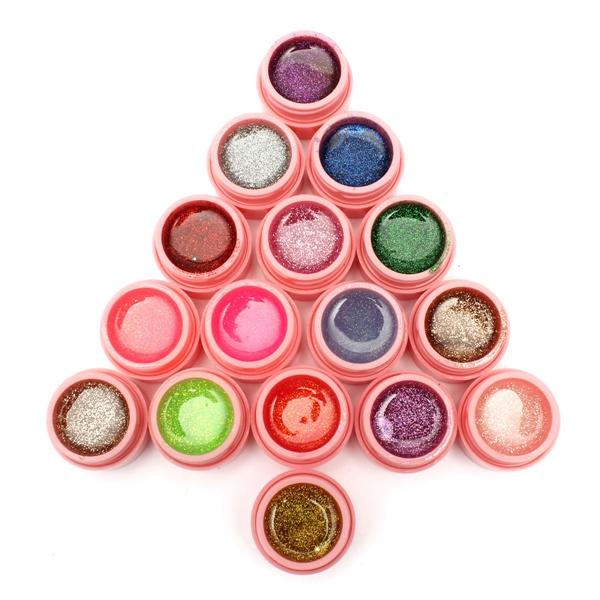16 potten glitter poeder UV-builder gel nail art decoratie set