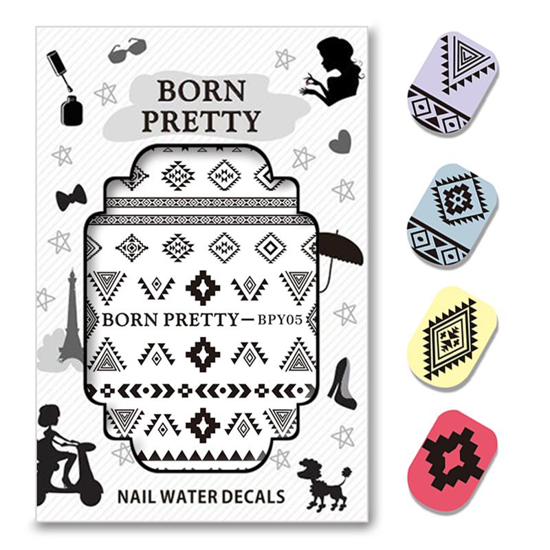 Image of 2 Patronen/Vel GEBOREN PRETTY Driehoek Diamant Vorm Nail Art Water Decals Transfer Sticker BPY05 Born Pretty 3397968