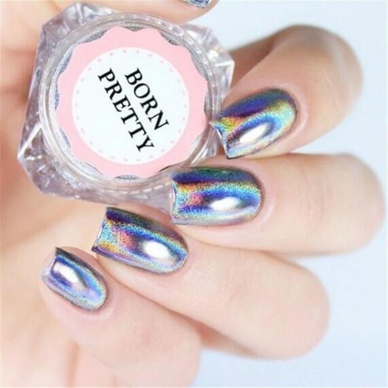 Image of 0.5 g/doos Holografische Laser Regenboog Poeder Nail Chrome Pigment Glitter Poeder Manicure Nail Art Glitter Decoratie Born Pretty 3420901