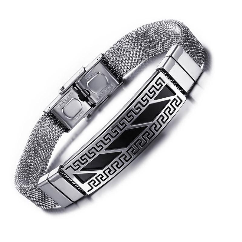 Vnox Mannen Armband Punk Armbanden Rvs Griekse Sleutel Patroon Armband voor Mannen Sieraden VNOX