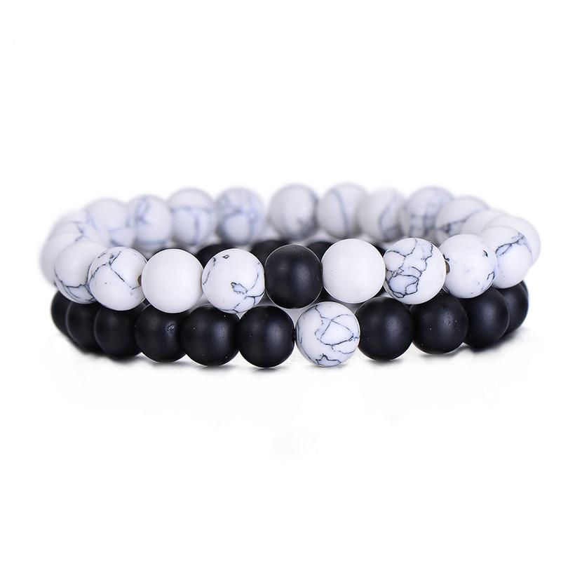 2 Stks-set Koppels Afstand Armband Classic Natuursteen Wit en Zwart Yin Yang Kralen Armbanden Mannen