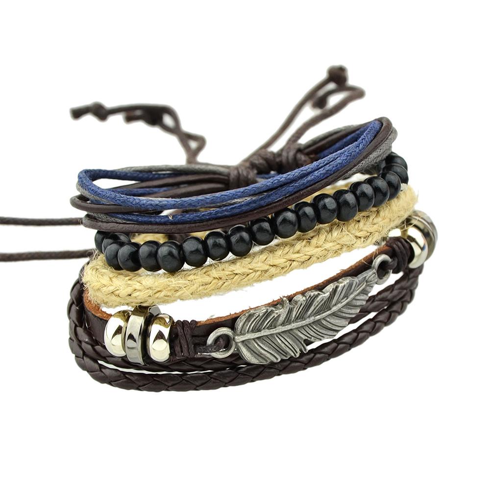 4 STKS-SET Multilayer Armband Zwarte Kralen Pu Lederen Wrap Armbanden voor Mannen en Vrouwen Polsban