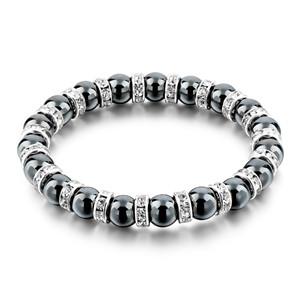 Tibetaans Zilveren kleur Zwart Steen Streng Armband Mannen vrouwen Handgemaakte Kralen Armband Met S