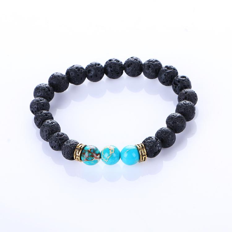Mannen Vrouwen Armbanden Lava Chakra Healing Balans Kralen Armband Stretch Reiki Boeddha Gebed Natuu
