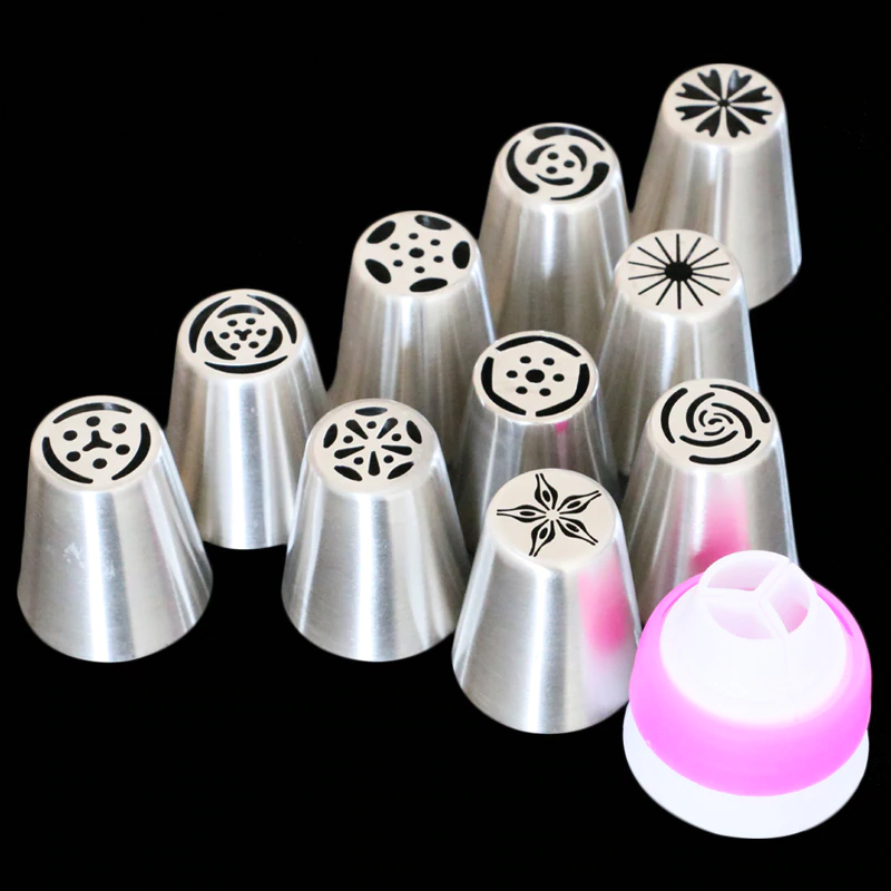 Fondant Decoratie Russische Icing Piping Tips Cake Gebak Decorating Nozzle Kit (10 STKS) 1 Koppeling