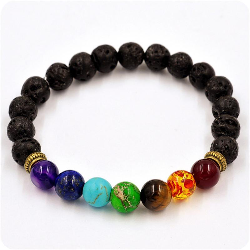8mm Muti-kleur Kralen Armbanden Lava 7 Chakra Healing Balans Armband voor Mannen Strass Reiki Gebed