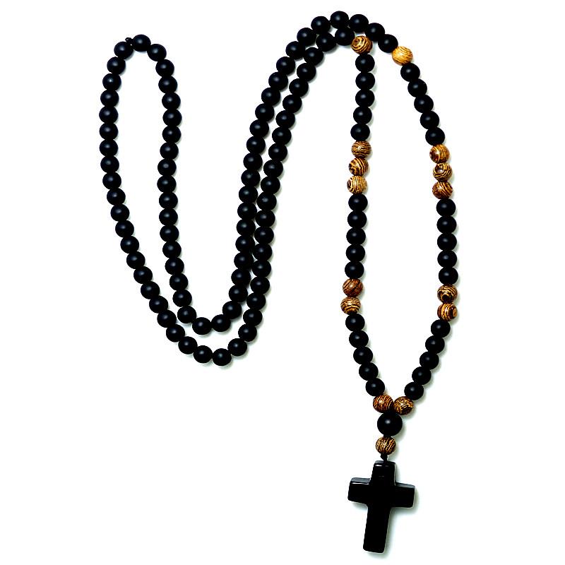 6 MM Zwarte steen Hout Kralen met black stone cross Hanger Heren Rozenkrans Ketting Mens Mala sierad