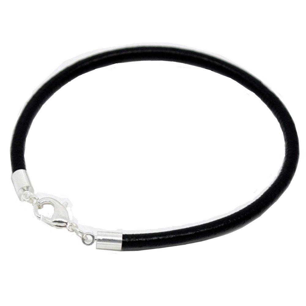 DoreenBeadsKoop Zilver kleur Karabijn Zwart Lederen Armbanden Fit Vrouwen Mannen DIY Bedelarmband 18