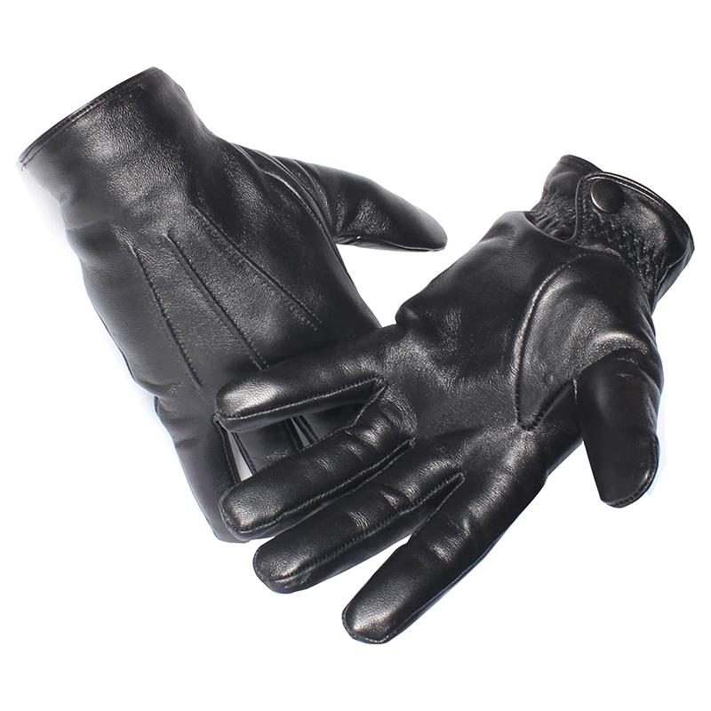 Gours mannen Lederen Handschoenen Real Schapenvacht Zwart Touchscreen Handschoenen Knop ModeWinter W