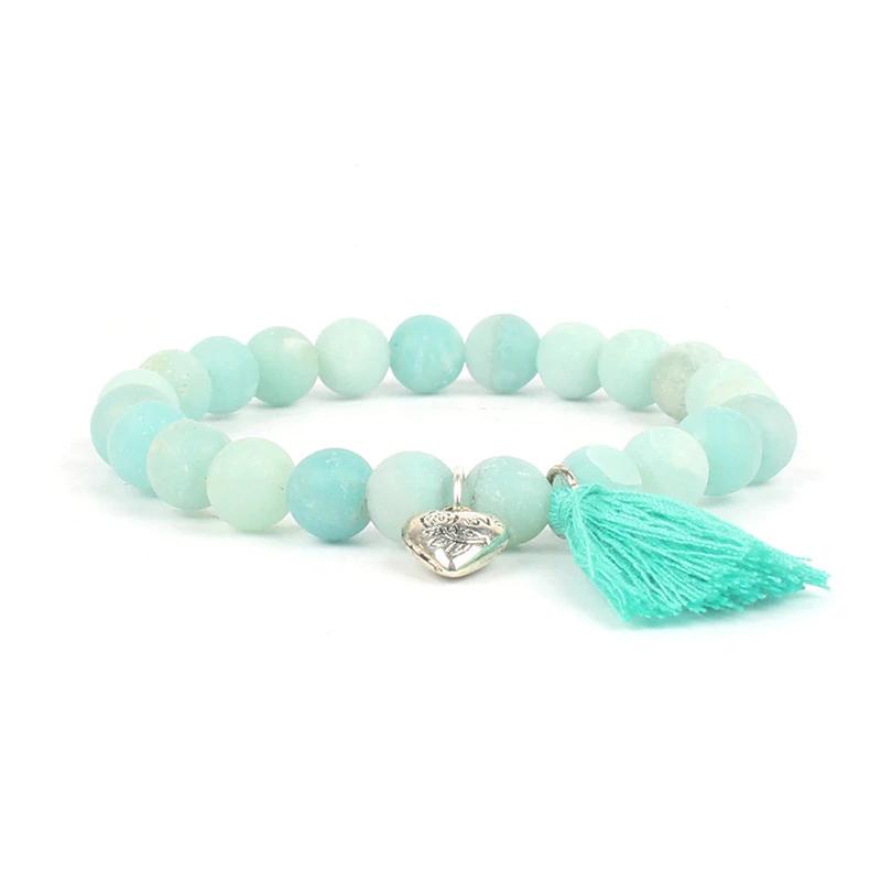 Armband Mannen Chakra Armbanden Vrouwen Yoga Natuursteen Kralen Matte Amazonite Liefde Hart Meditati