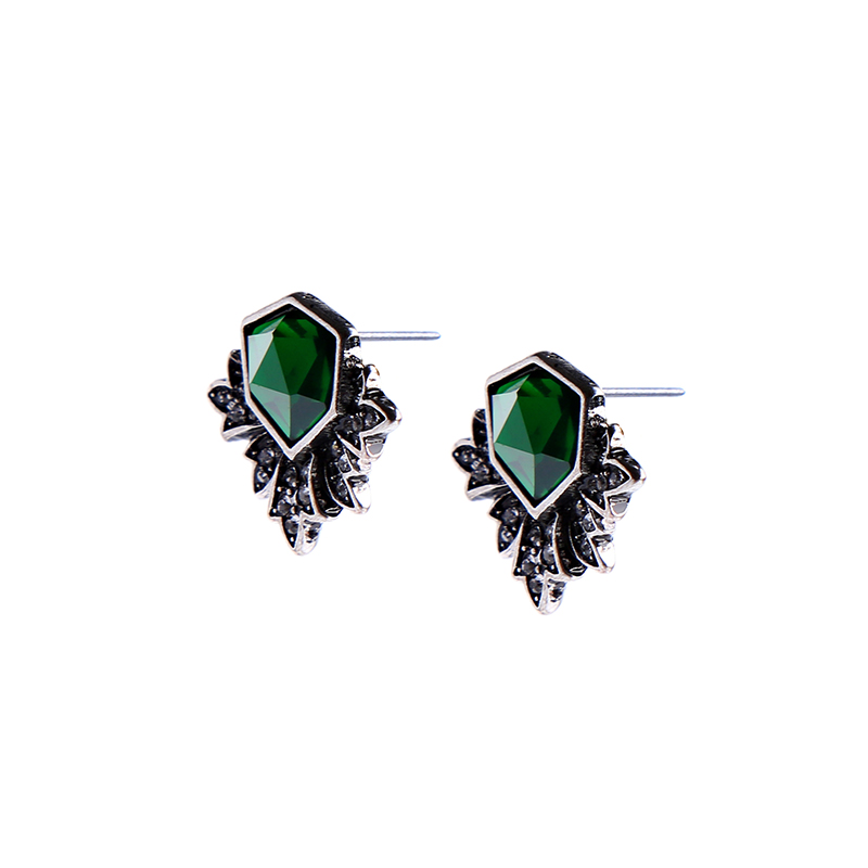 KUS ME Antieke Zilveren Kleur Groene Oorbellen Mode-sieradenVrouwen Vintage Accessoires   kissme