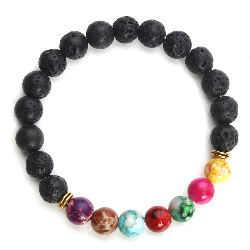 Natuurlijke Zwarte Lava Stone Armbanden 7 Reiki Chakra Healing Balans Kralen Armband Mannen Vrouwen