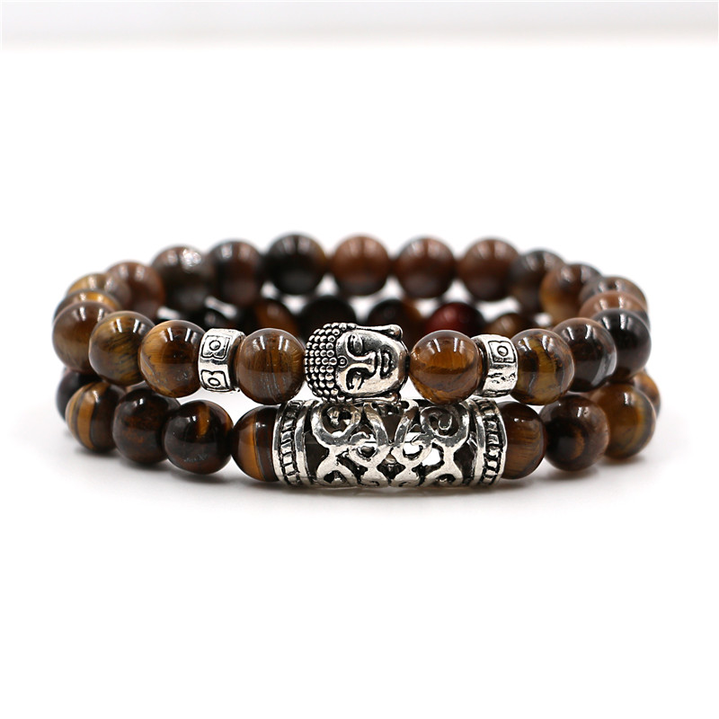 2 stks set mannen vrouw bead armband kralen zwarte lava steen gebed kralen boeddha armband voor vrou