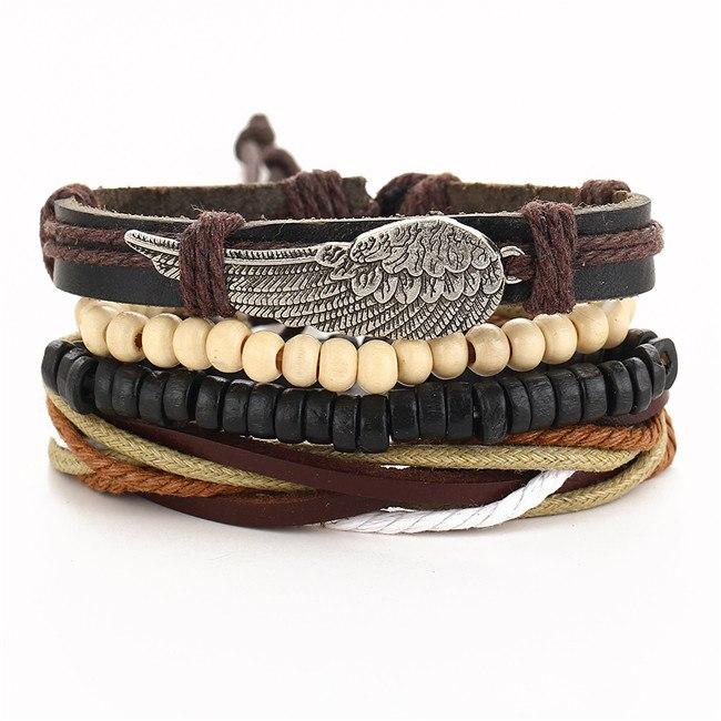 17 KM Punk Turkse Wing Armbanden voor Vrouwen Mannen Kralen Polsband Manchet Lederen Armband Etnisch