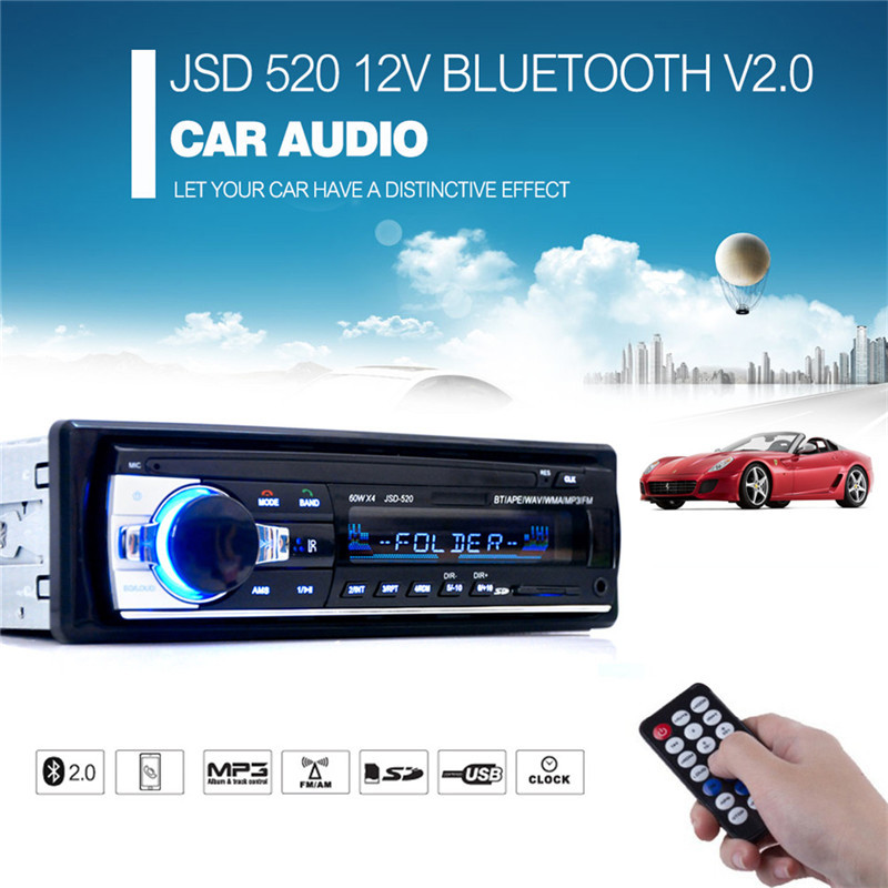 JSD520 Autoradio Mp3-speler Bluetooth V2.0 Stereo In-dash 1 Din FM Aux-ingang Receiver SD USB MP3 MM