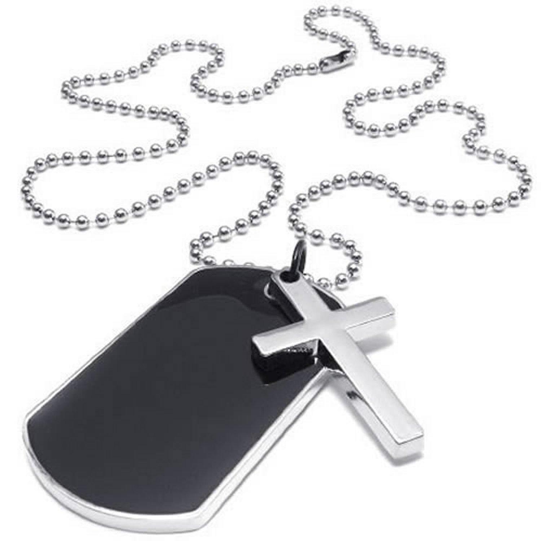 Leger Stijl Dog Tag Kruis Hanger Heren Ketting, kleur Zwart Zilver, 27 inch Keten
