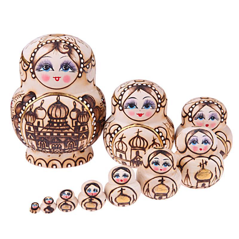 10 stks-set Handgemaakte Houten Russische Matroesjka Poppen Kasteel Patroon Nestelen Speelgoed Kinde