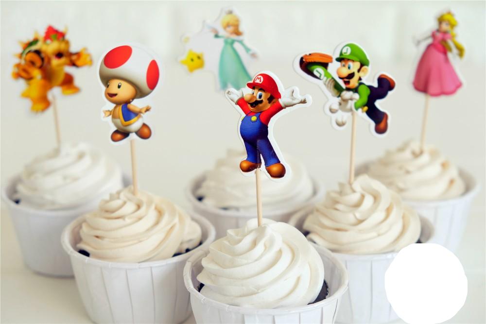 72 stks Super Mario Bros Luigui Mario Browser Toad Peach Daisy cupcake toppers picks party decoratie
