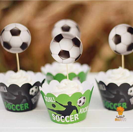 48 stks Voetbal sport cupcake wrappers & toppers decoratie kids verjaardagsfeestje levert cupcake ge