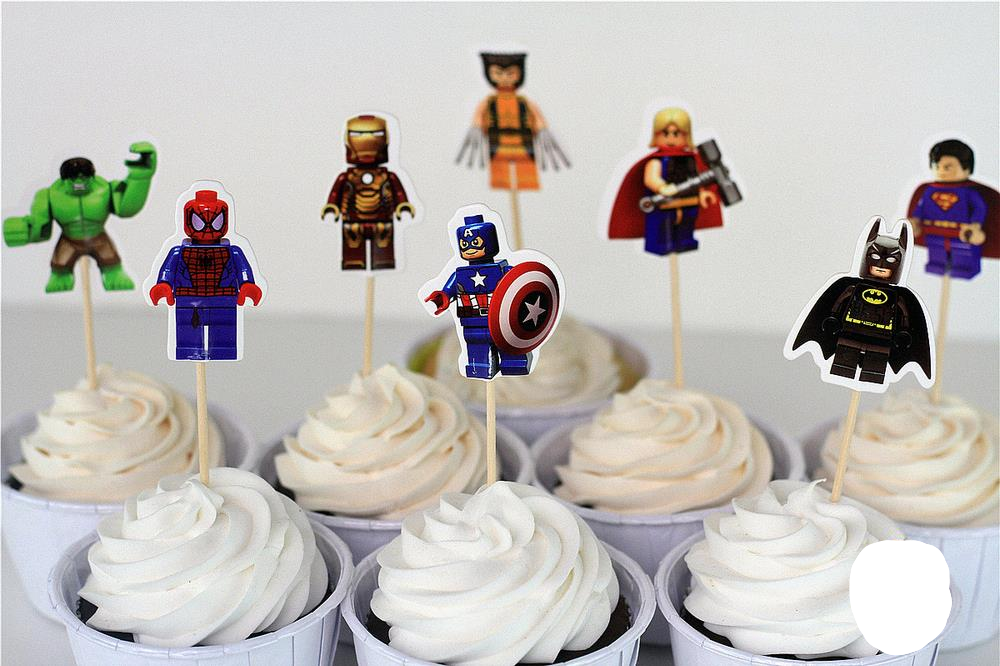 96 stks LEGO Avengers superman batman Iron Man cake toppers cupcake picks gevallen kids decoratie ba