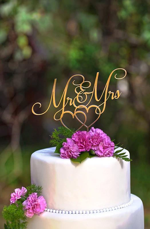 Spiegel Goud Acryl Mr & Mrs Wedding Cake Topper voor Bruiloft Decoratie Engagement Anniversary Feest