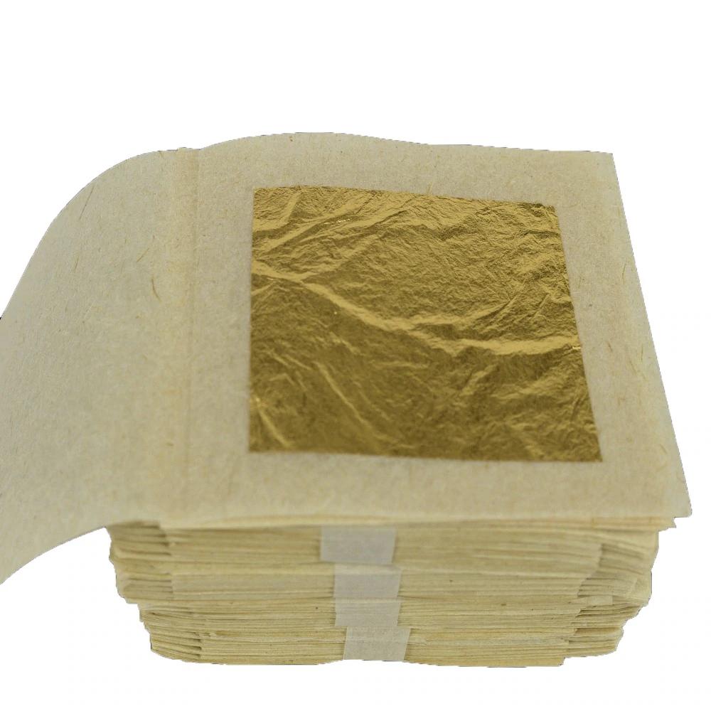 100 Vellen Echt 24 k Eetbare Bladgoud-Voedsel Decoratie Bladgoud masker voor kosmetiek Goudfolie