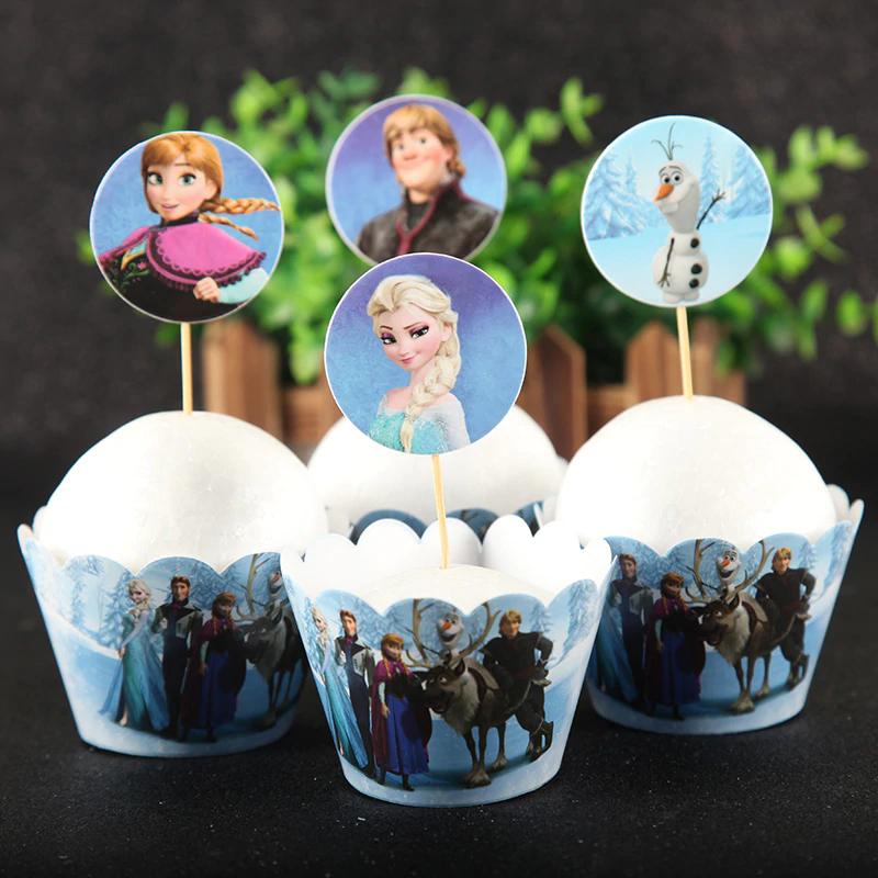 24 stks-set Disney Frozen Cupcake Topper pick Bruiloft Decoratie Kids Verjaardagsfeestje Levert Taar
