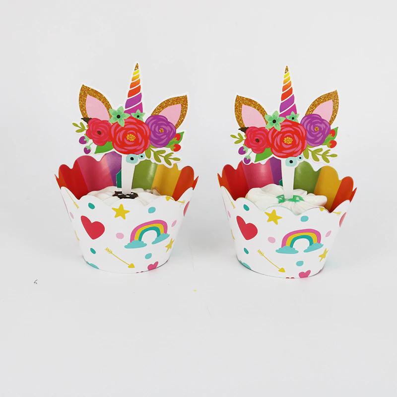 48 stks Rainbow Eenhoorn Paard Cupcake Wrappers Cake Topper Kids Verjaardag Bruiloft Decoratie Benod